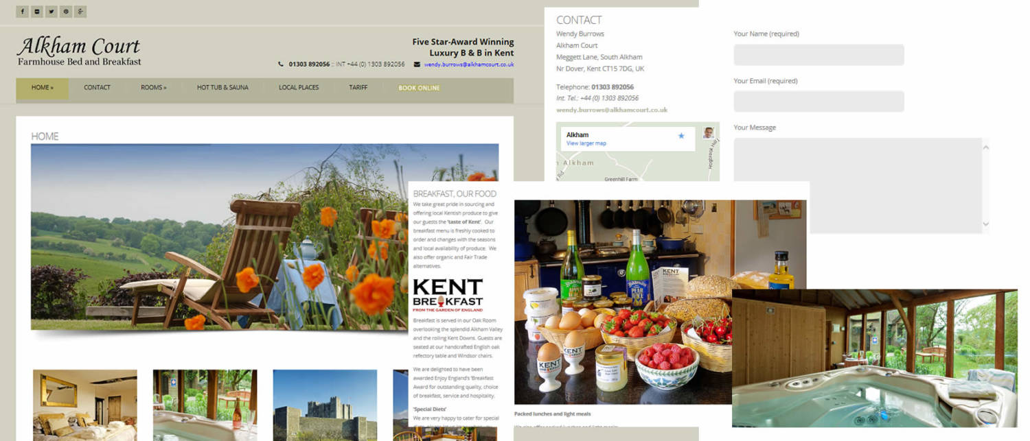 website design case study alkham bed and breakfast