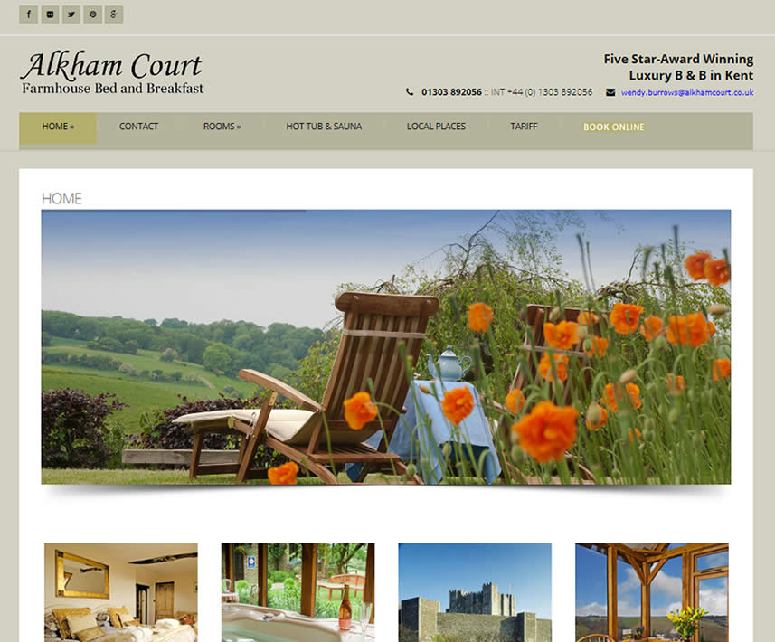 website design case study alkham b and b dover
