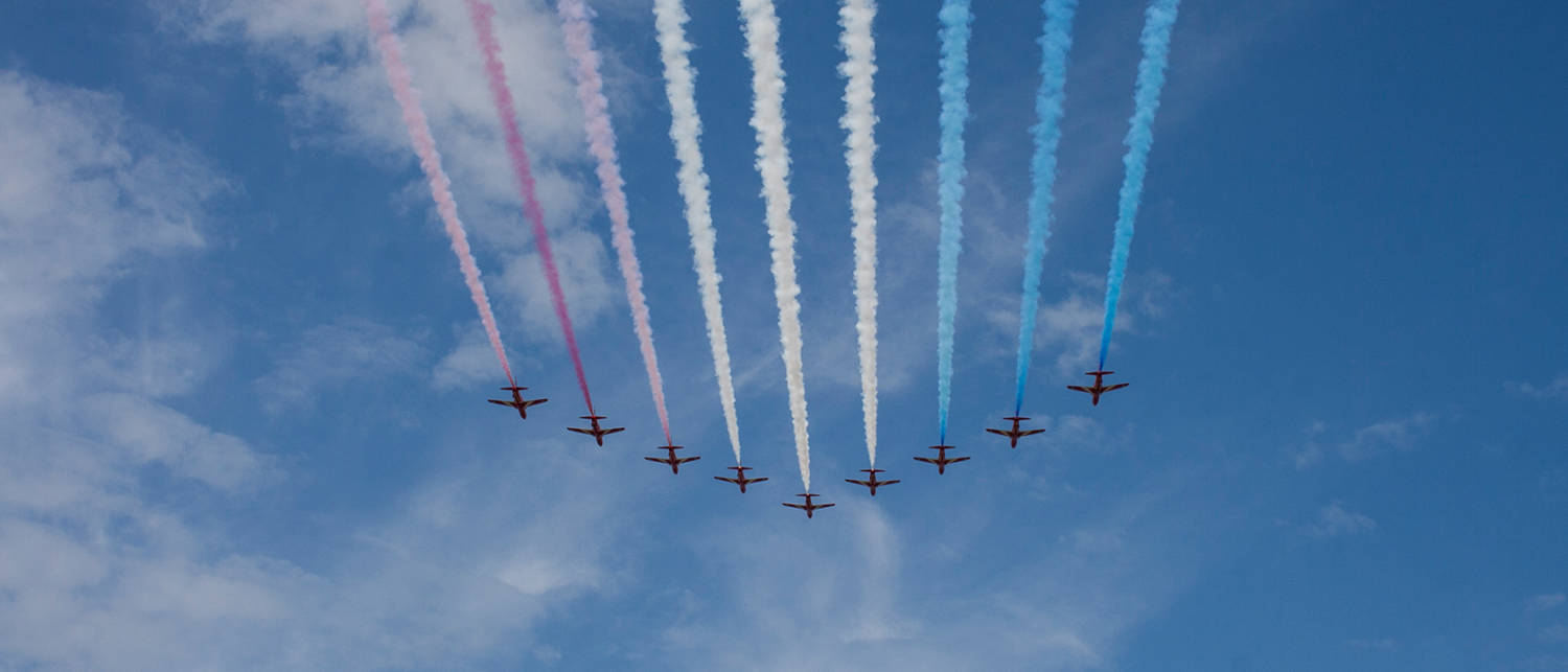 red arrows over herne bay, kent