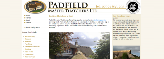 Padfield Thatchers, Thanet, Kent website design clients