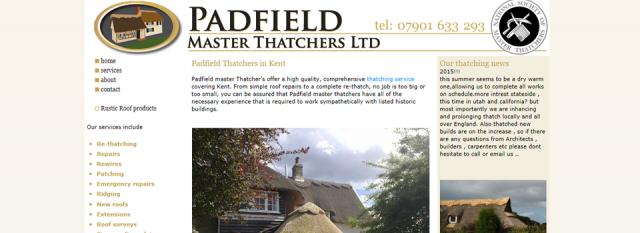 Padfield Thatchers, Thanet, Kent website design clients