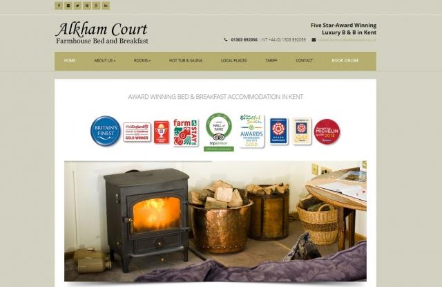 Alkham Court B and B in Dover website design