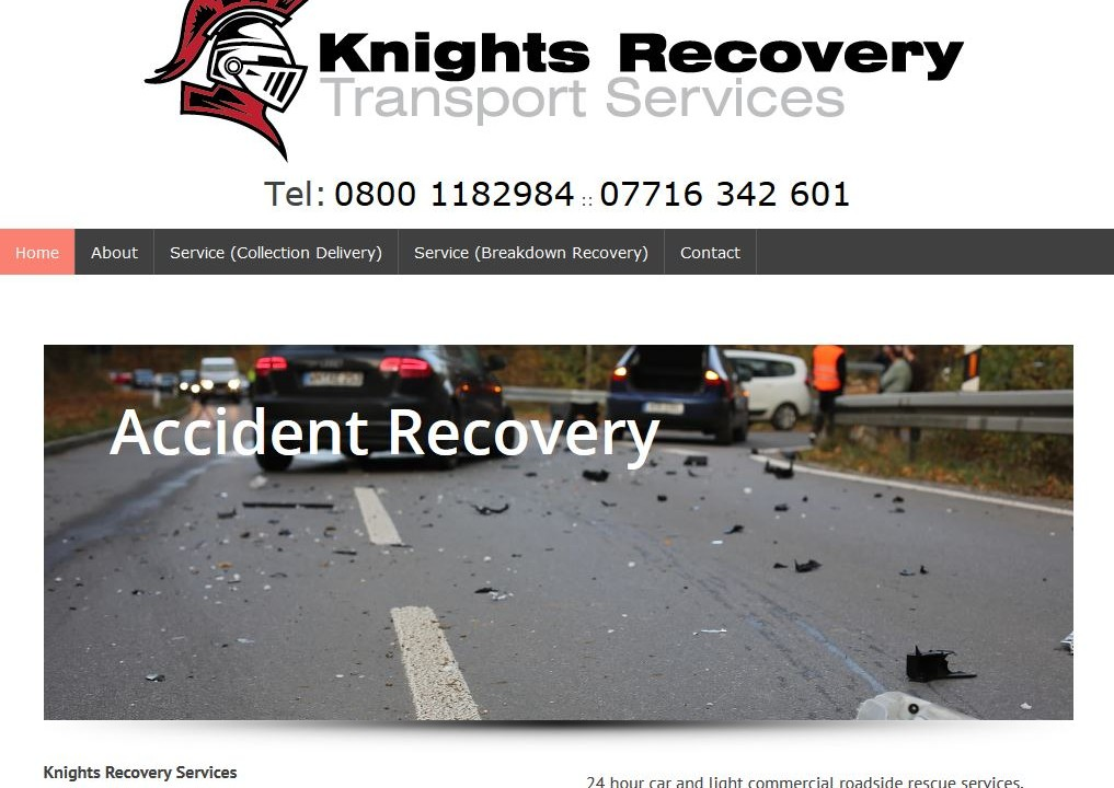 Knights Recovery wordpress website design
