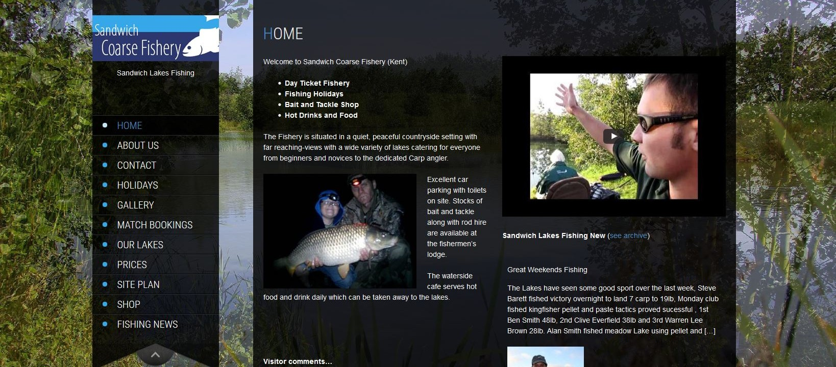 website design fishing lakes