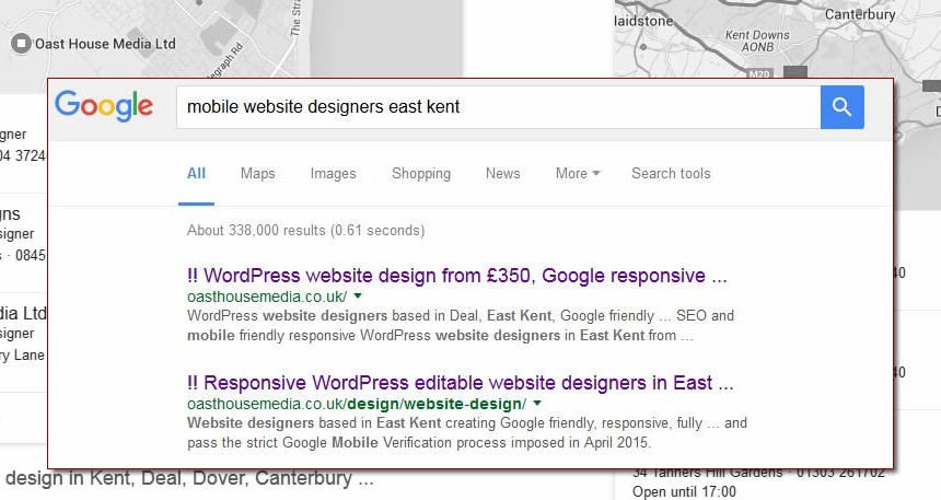 google search results website designers in kent