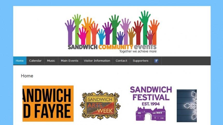 sandwich events calendar website design