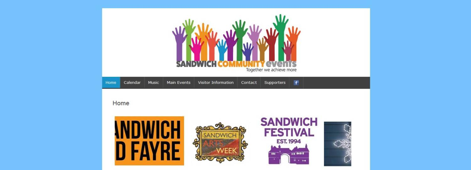 sandwich events calendar website design