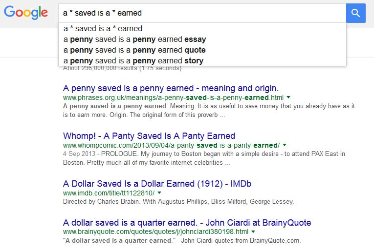 google boolean search result