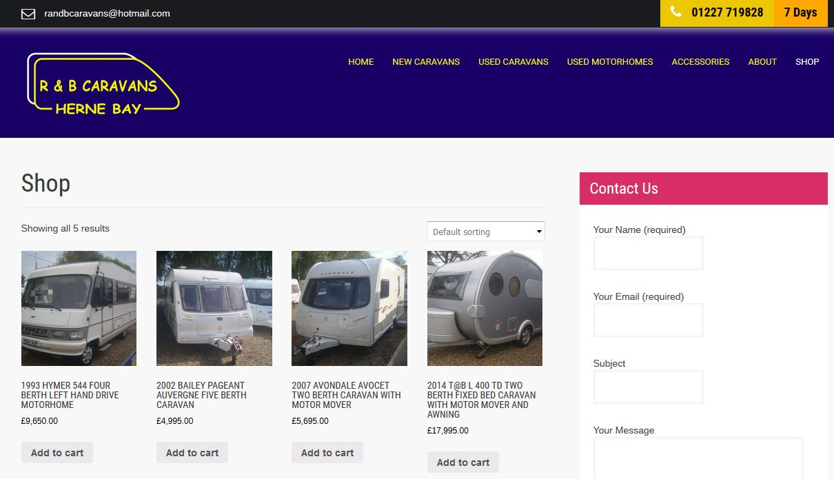 R and B caravans new website design