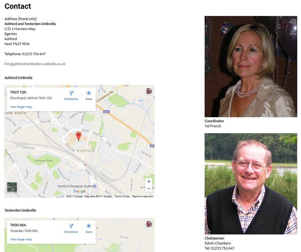 charity website design ashford and tenterden umbrella contact page
