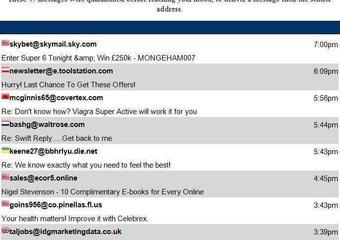 email quaratine list