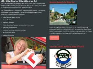 exfire driving school canterbury website design page