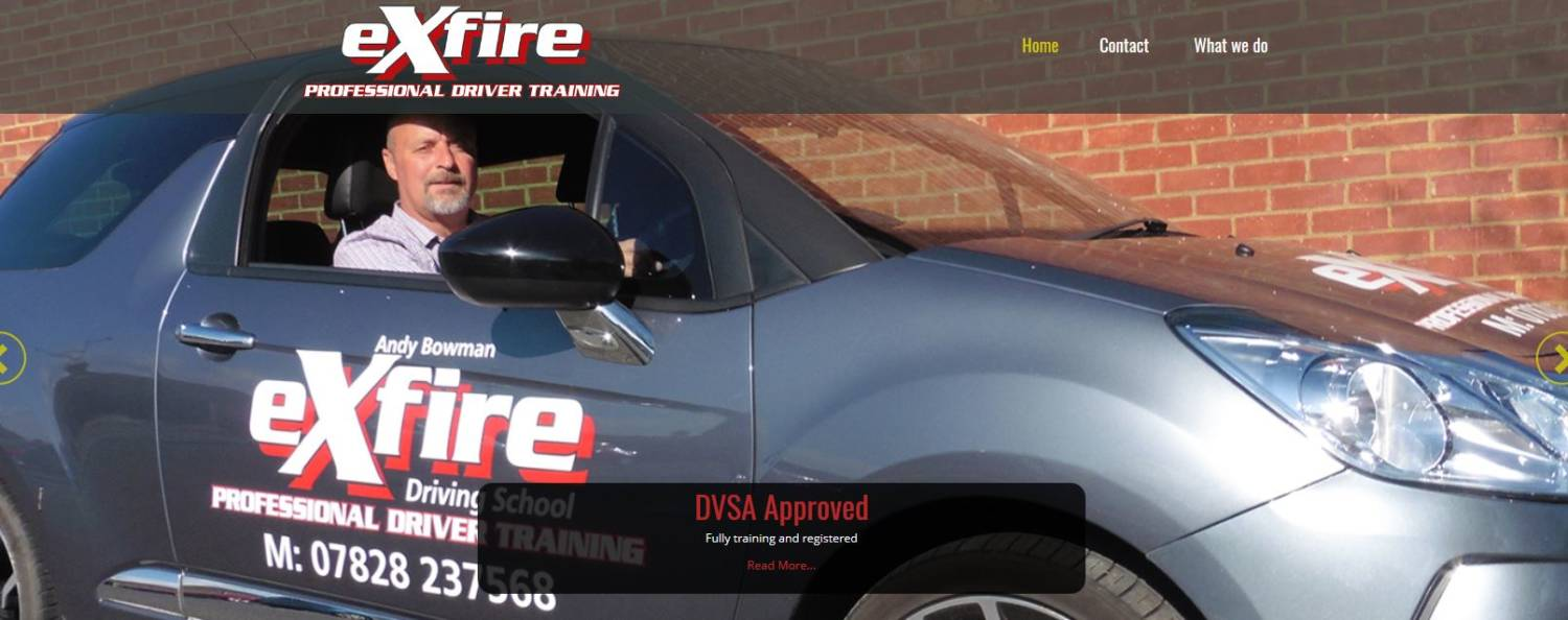 exfire driving school canterbury website design