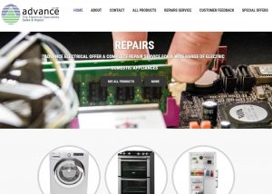 Advance electrical Whitstable new website design header