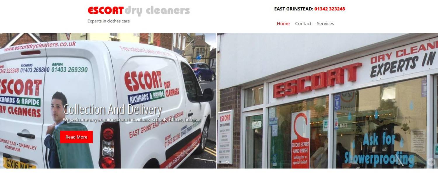 escort dry cleaners in sussex website re-design