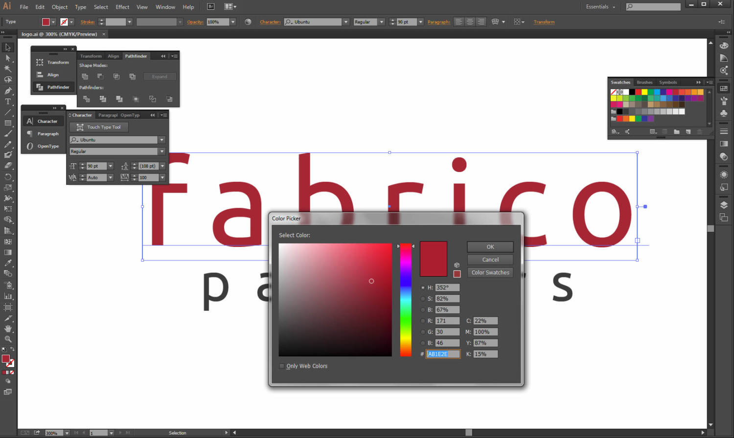 fabrico logo adobe illustrator design