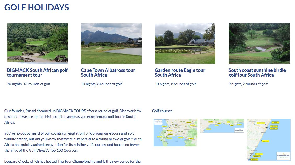 big mack website design golf page