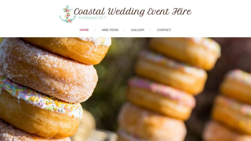 coastal wedding event hire website design home page