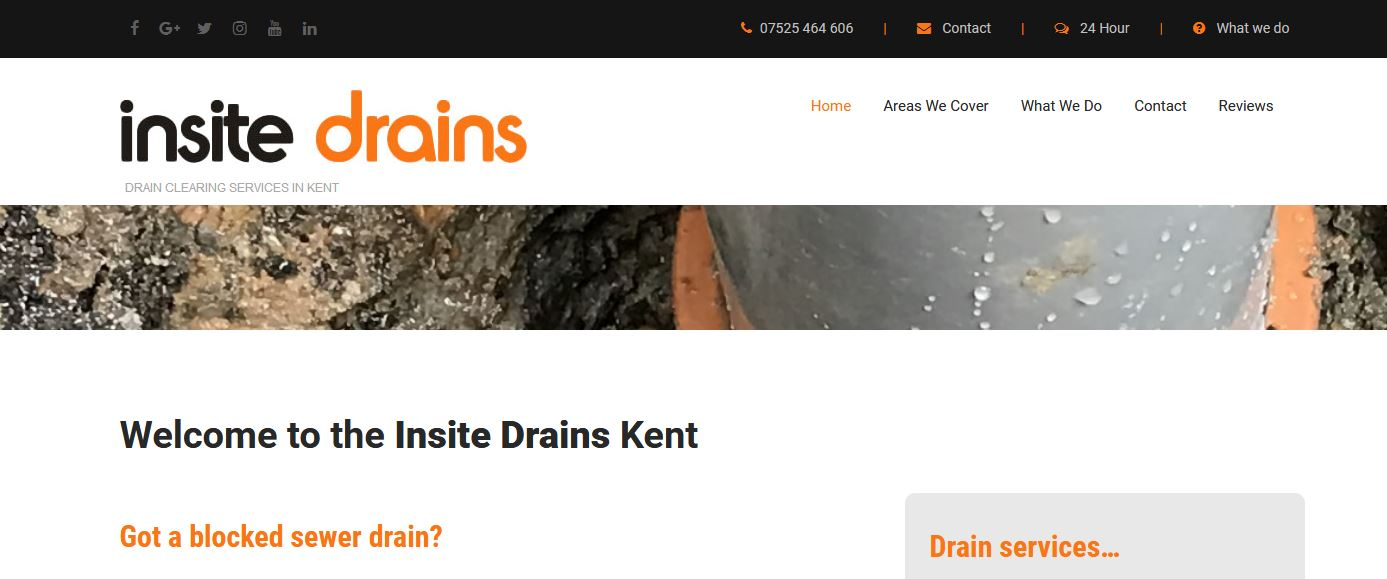 insite drains web design home page