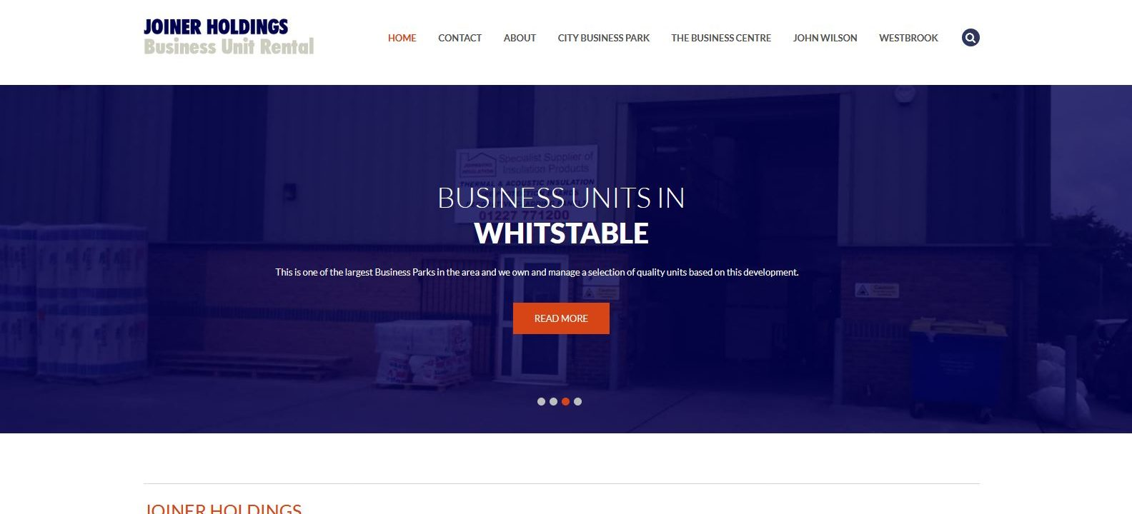 joiner holdings website design home page