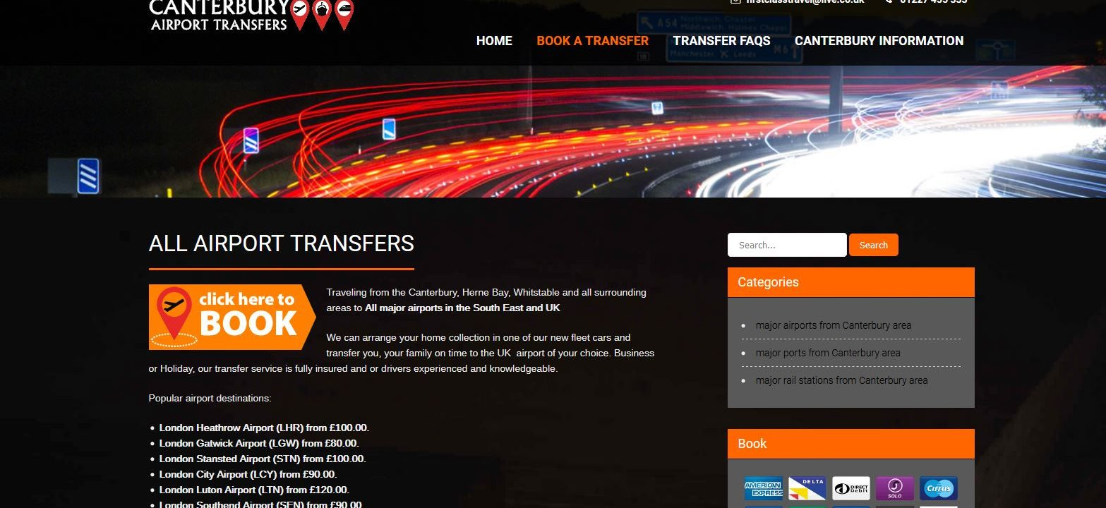 canterbury airport transfers website