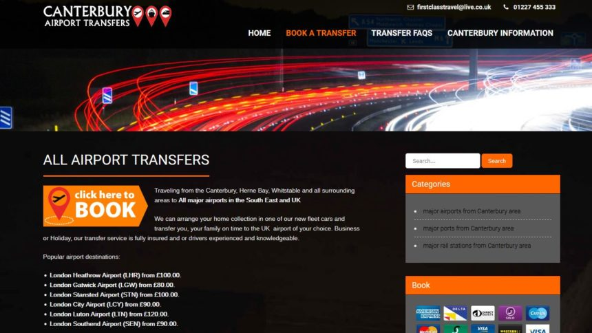 canterbury airport transfers website