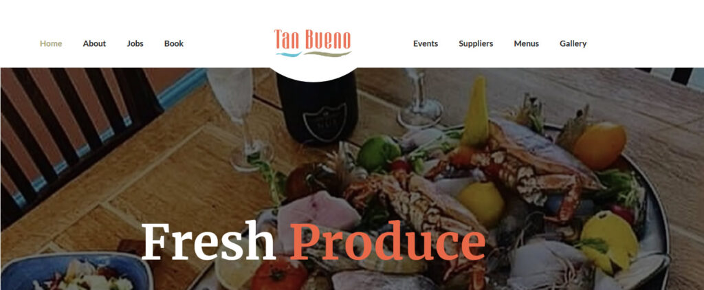 tan bueno Mediterranean restaurant in sandwich web design