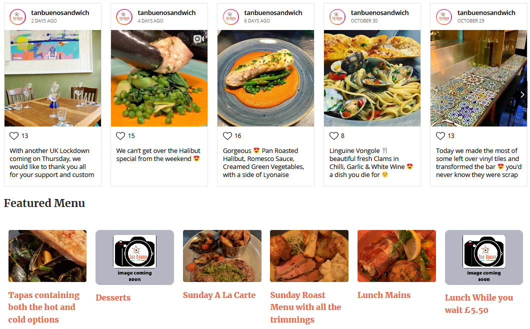 tan bueno instagram feed and blog post menu