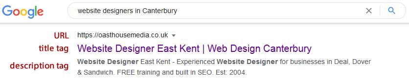 Google natural listing result